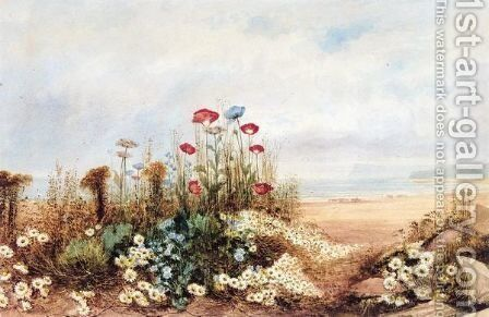 Wild Flowers And Poppies With A Distant View Of Fairhead, Co. Antrim by Andrew Nicholl - Reproduction Oil Painting