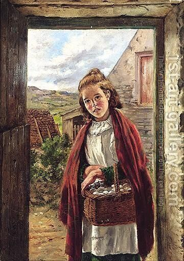 On The Way To Market by James Brenan - Reproduction Oil Painting
