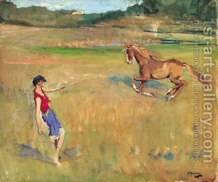 Schooling The Pony by Sir John Lavery - Reproduction Oil Painting