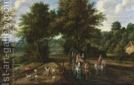 A Wooded Landscape With Travellers In A Horse-Drawn Carriage With A Horseman And Shepherds With Their Sheep Resting by (after) Pieter Bout - Reproduction Oil Painting