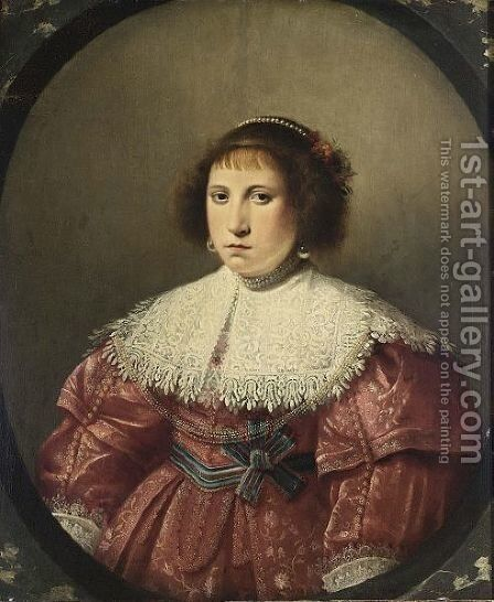 A Portrait Of A Lady by Haarlem School - Reproduction Oil Painting