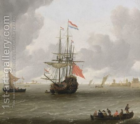 A Man-Of-War In A Stiff Breeze With A Kaag And A Rowing Boat With Figures In The Lower Foreground, A View Of A Quay With A Watermill And A Warehouse In The Distance by Hieronymous Van Diest - Reproduction Oil Painting