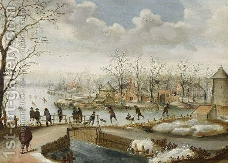A Winter Landscape With Skaters On A Frozen River Near A Village And Figures On A Bridge by (after) Antoni Verstralen (van Stralen) - Reproduction Oil Painting