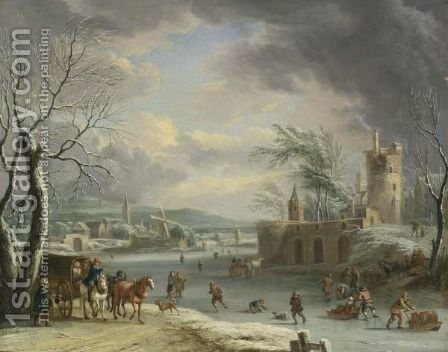 A Winter Landscape With Travellers In A Horse-Drawn Carriage, Figures Skating And Sledding On The Ice, A Fortification In A Village Nearby, And Another Village With Mills And A Church Beyond by Dirk The Elder Dalens - Reproduction Oil Painting
