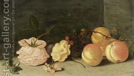 A Still Life With Peaches, Roses, Red And Black Berries, A Butterfly, A Dragonfly And A Green Lizard by Jan Baptist van Fornenburgh - Reproduction Oil Painting