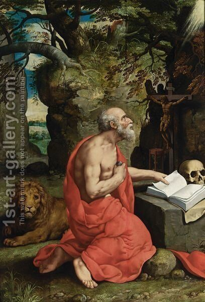 Saint Jerome In The Wilderness by Antwerp School - Reproduction Oil Painting