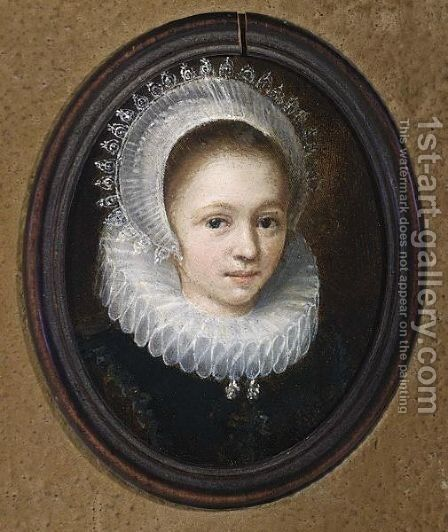 A Portrait Of A Young Girl, Head And Shoulders, Wearing A Black Dress With A White Lace Collar And An Elaborate Lace Headdress by (after) Jan Anthonisz. Van Ravesteijn - Reproduction Oil Painting