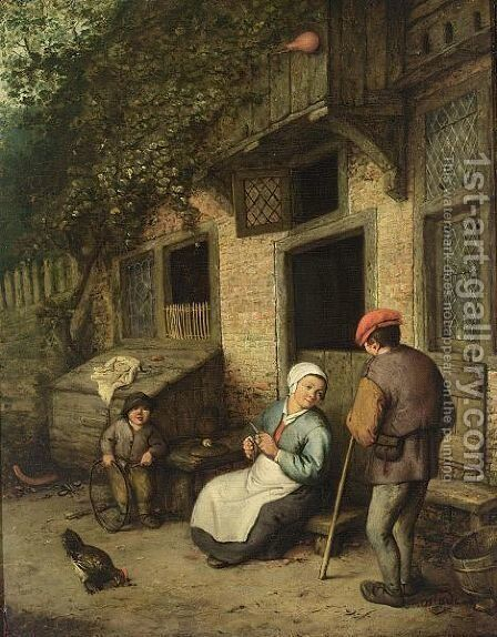 A Man And A Woman Conversing Outside A House, A Boy Playing With A Hoop Nearby by (after) Adriaen Jansz. Van Ostade - Reproduction Oil Painting