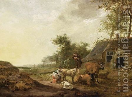 A Landscape With A Maid Milking A Sheep, A Shepherd Watching With Sheep And Cows, A Farm Nearby by Hendrik Mommers - Reproduction Oil Painting