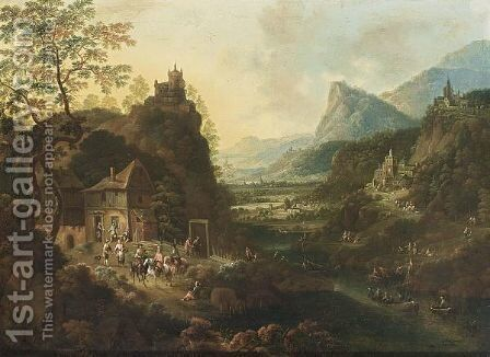 A Rhenish Mountainous River Landscape With Horsemen And Travellers Near An Inn, Fishing Boats On The River, And A Castle On A Hill Top And Other Castles And Villages Beyond by (after) Griffier, Jan the Elder - Reproduction Oil Painting