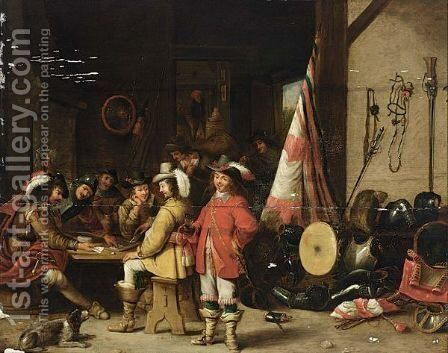 Soldiers Playing Cards And Drinking In An Interior by (after)  David The Younger Teniers - Reproduction Oil Painting