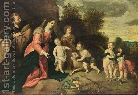The Holy Family With St. John The Baptist, An Angel And Putti In A Landscape, A Fruit Still Life In The Foreground by (after) Pieter Van Avont - Reproduction Oil Painting