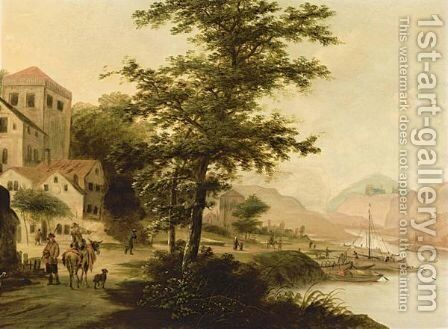 A River Landscape With  Fishing Boats Unloading And Travellers On A Path Near A Village by Claesz Jansz Van Der Willigen - Reproduction Oil Painting