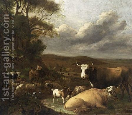 A Landscape With Cows Resting In A Meadow Near Trees by Albert-Jansz. Klomp - Reproduction Oil Painting