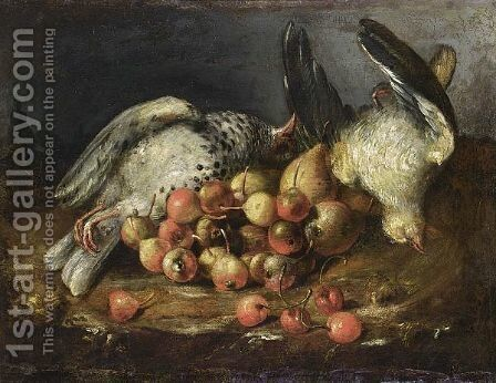 A Still Life With Two Pigeons, Cherries, Rose-Hips And Pears, All In A Landscape Setting by (after) Bartolommeo Bimbi - Reproduction Oil Painting