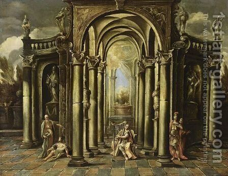 An Architectural Capriccio Of A Classical Building Adorned With Statues And David Playing The Harp Surrounded By Other Figures by (after) Giovanni Ghisolfi - Reproduction Oil Painting