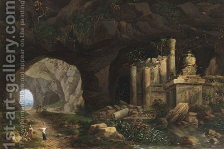 A Grotto With Nymphs Resting Near Classical Columns And Ornaments by Christian Wilhelm Ernst Dietrich - Reproduction Oil Painting