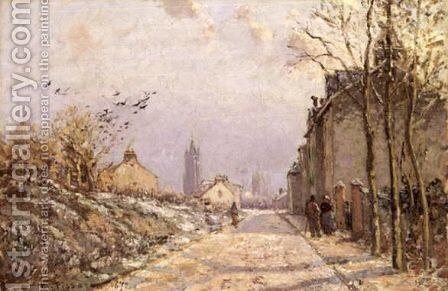 La Route, Effet D'Hiver by Camille Pissarro - Reproduction Oil Painting