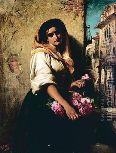 The Flower Seller 2 by (after) John Phillip - Reproduction Oil Painting