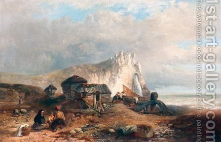 Figures On The Shore by James Vivien de Fleury - Reproduction Oil Painting