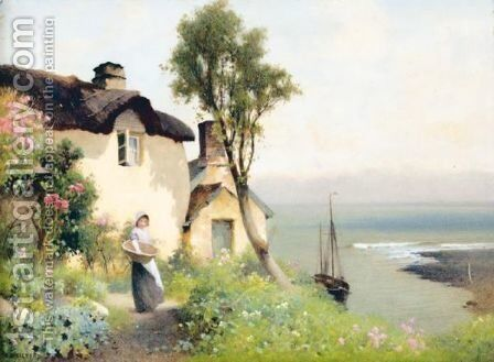 Shelley Cottage, Lynmouth, Devon by Benjamin D. Sigmund - Reproduction Oil Painting