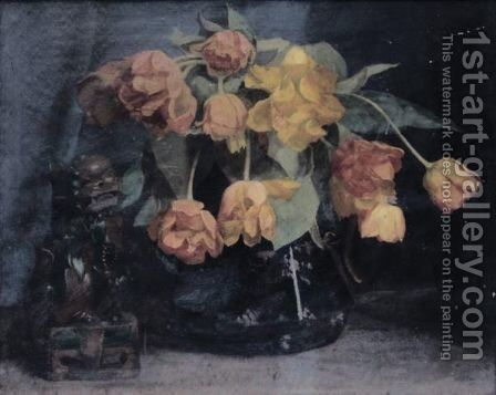 Still Life Of Tulips In A Vase by William M. Milner - Reproduction Oil Painting