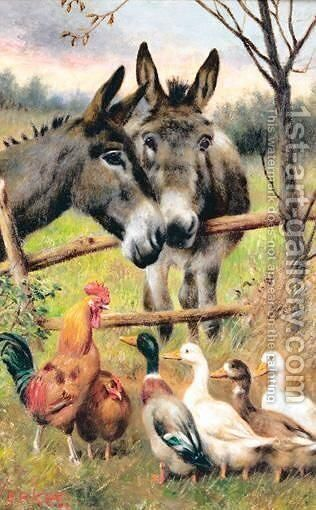 Donkey And Ducks by Herbert William Weekes - Reproduction Oil Painting