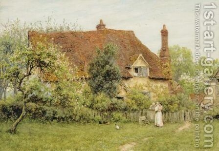 The Old Farm At Pinner by Helen Mary Elizabeth Allingham, R.W.S. - Reproduction Oil Painting