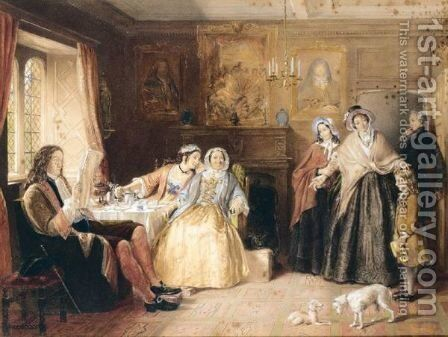 A Visitor At Breakfast by (after) Charles Green - Reproduction Oil Painting