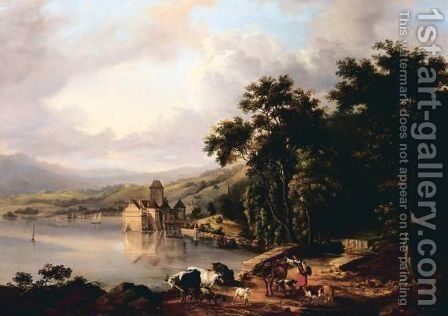 Chateau Chillon by (after) Barend Cornelis Koekkoek - Reproduction Oil Painting
