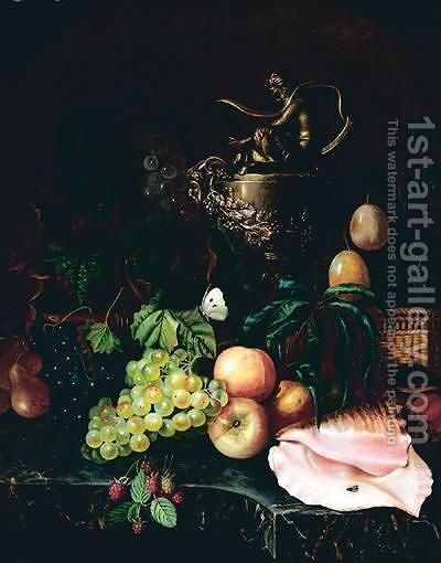 Still Life With Fruit And Shell by Continental School - Reproduction Oil Painting