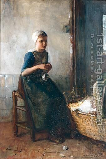 Mother And Child 2 by Albert Neuhuys - Reproduction Oil Painting
