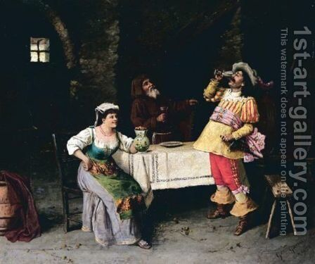In The Tavern by Guiseppe Garinei - Reproduction Oil Painting