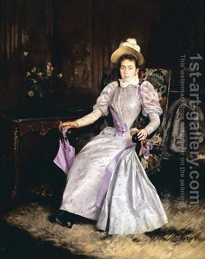 Woman In A Mauve Dress by Basile Lemeunier - Reproduction Oil Painting