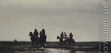 Cossacks In A Landscape by Adolf Schreyer - Reproduction Oil Painting