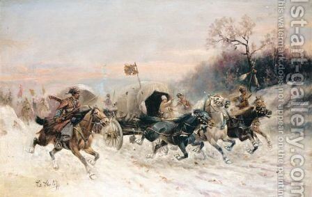 The Convoy In The Snow by Constantin Stoiloff - Reproduction Oil Painting