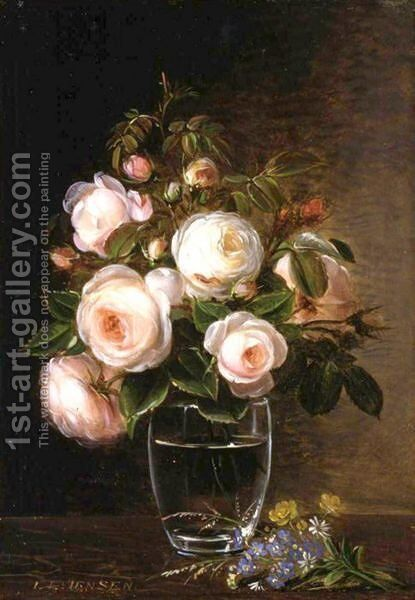 Roses In A Glass Vase With Yellow Buttercups, Forget-Me-Nots And Chickweed On A Marble Ledge by Johan Laurentz Jensen - Reproduction Oil Painting
