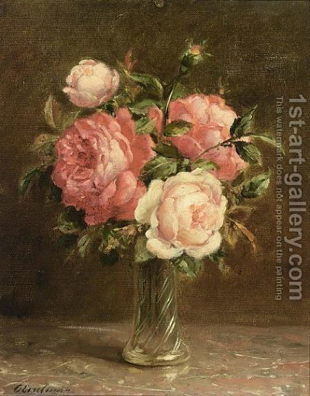 A Still Life Of Pink Roses by Otto Eerelman - Reproduction Oil Painting