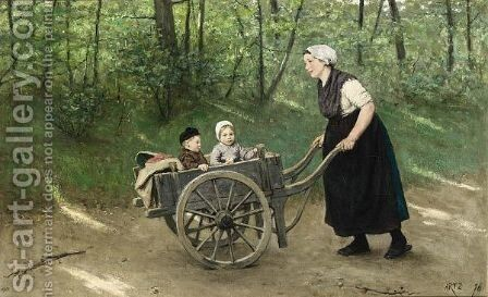 A Stroll In The Pushcart by David Adolf Constant Artz - Reproduction Oil Painting