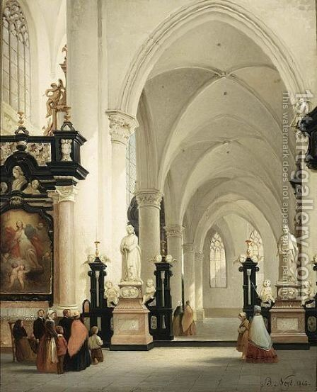 Figures In A Church Interior by Bernard Neyt - Reproduction Oil Painting