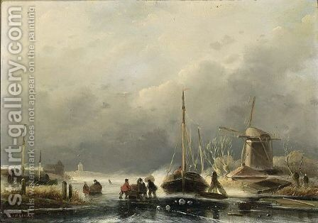 A Winter Landscape With Figures On The Ice by Cornelis Petrus T' Hoen - Reproduction Oil Painting