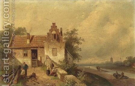 A Summer Landscape With Figures In A Yard by Charles Henri Leickert - Reproduction Oil Painting