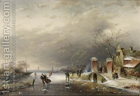 A Winter Landscape With Figures On A Frozen Waterway 2 by Charles Henri Leickert - Reproduction Oil Painting