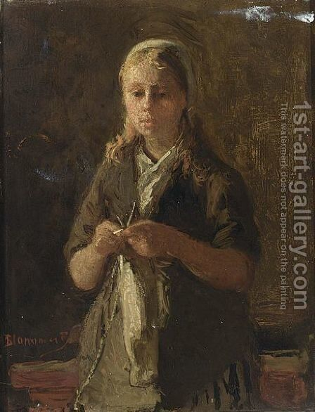 A Girl Knitting by Bernardus Johannes Blommers - Reproduction Oil Painting