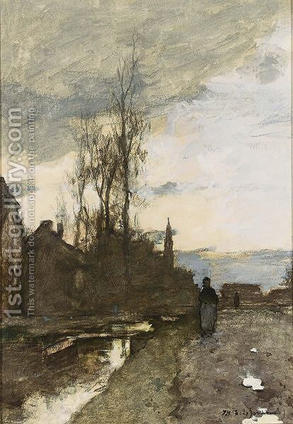 A Peasant Woman Near A Village by Johan Hendrik Weissenbruch - Reproduction Oil Painting