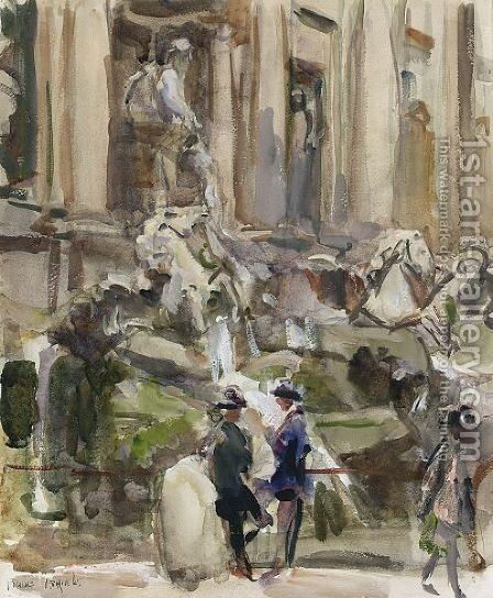 At The Trevi Fountains, Rome by Isaac Israels - Reproduction Oil Painting