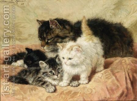 A Proud Mother 2 by Henriette Ronner-Knip - Reproduction Oil Painting