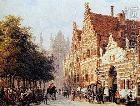 The Orphanage On The Hooglandse Kerkgracht, Leiden by Cornelis Springer - Reproduction Oil Painting