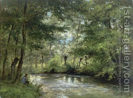 An Angler By A Forest Stream by Cesar De Cock - Reproduction Oil Painting
