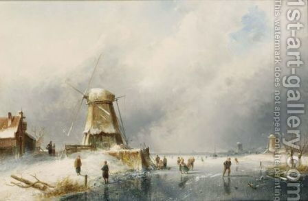 A Winter Landscape With Skaters On The Ice by Charles Henri Leickert - Reproduction Oil Painting